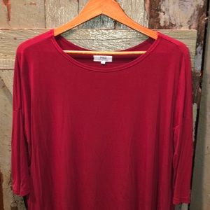 Piko top size small , cherry red 3/4 sleeves